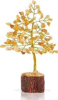 PREK Natural Yellow Aventurine Crystal Gemstone Bonsai Money Tree for Reiki Healing Good Luck, Home Office Decor Gift with...