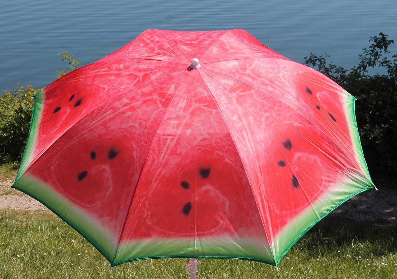 /Ø160 cm Marktschirm Orange Kiwi Melone AAF Nommel Sonnenschirm Strand Schirm Gartenschirm Blau Batik