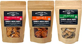 Bunker Hill Crunchy Cheese Crisps Snacks 100% Cheese High Protein, Gluten Free, Low Carb, Variety Pack 2 Ounce Bag - Jalapeno, Ghost Pepper BBQ, and Buffalo (Pack of 3) (Spicy)