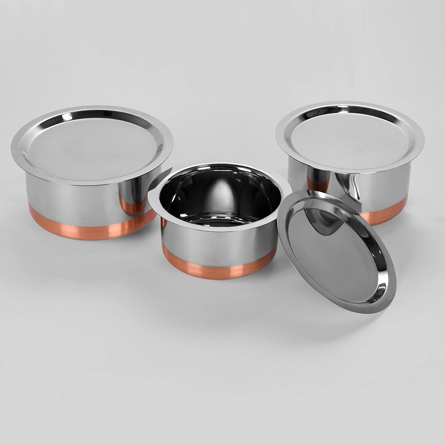 Sumeet Stainless Steel Cheap mail order shopping Copper Bottom Cookware Deluxe Set Tope Container