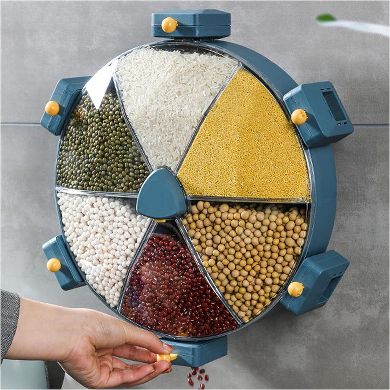 8.5l Wall-Mounted Grain depot Divided Stora Cereal Max 68% OFF Dispenser Rotating
