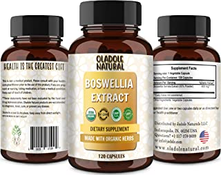 Oladole Natural Boswellia Extract Absorption Zero Synthetic Additives 500 mg, 120 Capsules