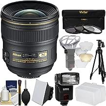Nikon 24mm f/1.4 G AF-S Nikkor Lens with iTTL Flash + Diffuser + Tripod + 3 Filters Kit for D3200, D3300, D5300, D5500, D7100, D7200, D610, D750, D810, D4s Camera