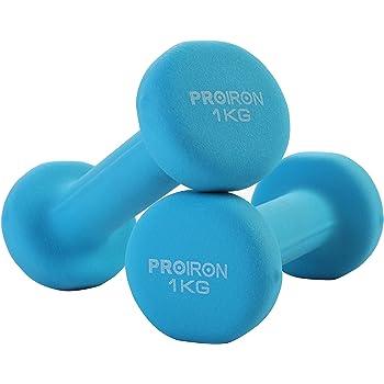 PROIRON Mancuernas de Neopreno -Mancuernas con Revestimiento de Neopreno 2 x 1 kg Azul: Amazon.es: Deportes y aire libre
