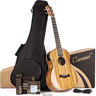 Caramel 26 inch CT103 Zebra Wood High Gloss Tenor Electric Ukulele Professional Ukelele Kit Beginner Guitar Starter Bundle...