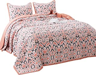 KASENTEX Luxury 3 Piece Quilt Set - Contemporary Oversized Bedding with Lavish Floral Printed Design, 100% Cotton Soft & Warm Reversible Bedspread (Floral Pink, Queen + 2 Shams 102x106+20x26 x2)
