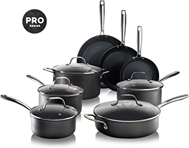 Granitestone PRO – Hard Anodized Pots and Pans 13 Piece Premium Chef's Cookware Set with Ultimate Nonstick Diamond & Mineral