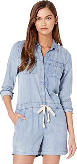 Chambray Drawstring Short Romper in Pretty Woman