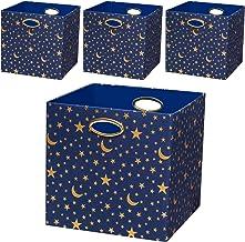 Posprica Storage Bins,Storage Cubes,Collapsible Fabric Storage Baskets, Canvas Fabric Metal, Stars, 13''/4pcs