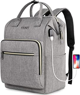 Laptop Backpack 15.6 Inch Stylish School Computer Casual Backpack Durable College Work Bookbag with USB Charging Port,Water Resistant Wide Open Carry on Travel Backpack for Women Men,Gray