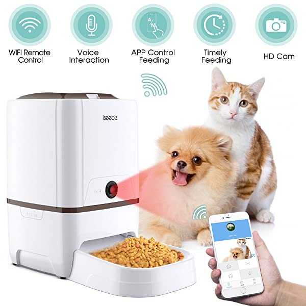 Iseebiz-Automatic-Pet-Feeder-with-Camera-6L-App-Control-Smart-Feeder-Cat-Dog-Food-Dispenser-2-Way-Audio-Voice-Remind-Video-Record-6-Meals-a-Day-for-Medium-Large-Cats-Dogs-Compatible-with-Alexa