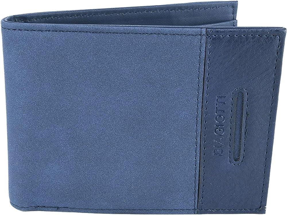 Laura biagiotti portafoglio porta carte di credito per uomo esterno ecopelle interno vera pelle Blu Bob