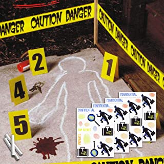 Halloween Decor Crime Scene Decorations Kit ~ 12 Pc Kit with White Chalk, Caution Tape, Blood Prints, Evidence Markers, and Stickers for Haunted Halloween Party Supplies