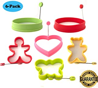 MealAids: Silicone Egg Rings - Premium Cooking Molds for Fried Eggs & Pancakes - Fun, Heat Resistant & Non-Stick Molds with EverLast Technology - Pack of 6