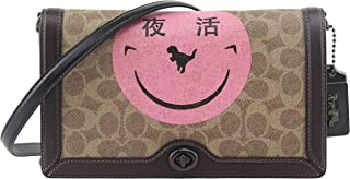 Coach Women's Riley In Signature Canvas With Rexy By Yeti Out in Tan Oxblood, Style F73943