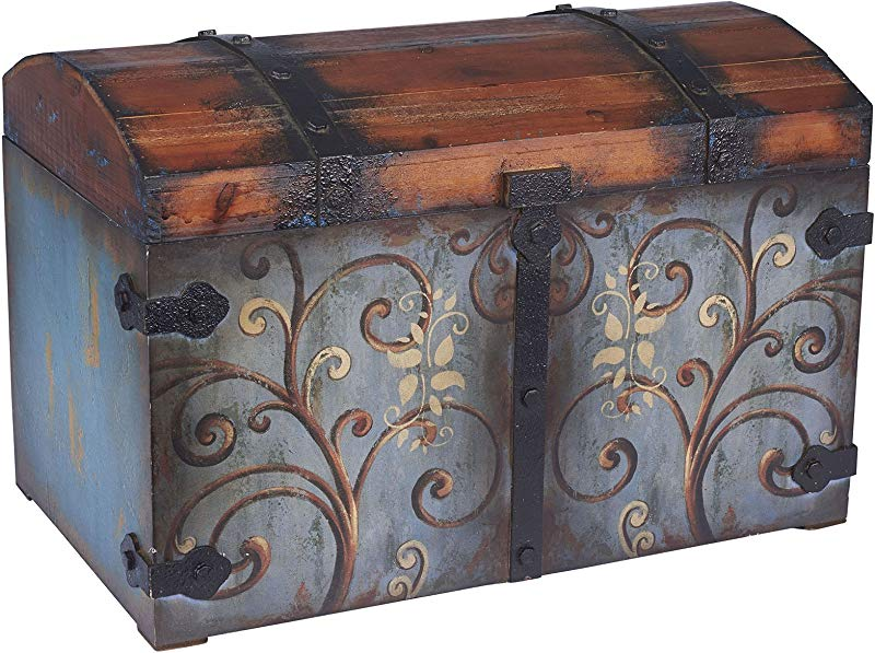 Household Essentials 9502 1 Vintage Wood Storage Trunk Large Blue Body Brown Lid Floral Design
