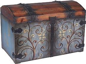 Household Essentials Vintage Wood Storage Trunk, Large, Blue Body/Brown Lid/Floral Design