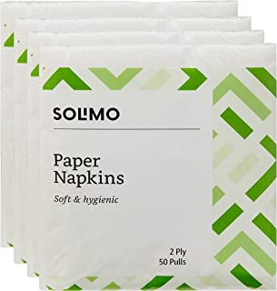 Amazon Brand - Solimo 2 Ply Paper Napkins - 50 Pulls (Pack of 4)