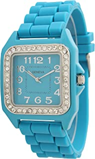 Geneva Silicone Watch Unisex Crystals Rhinestones Wrist Watch with Square Watch Face