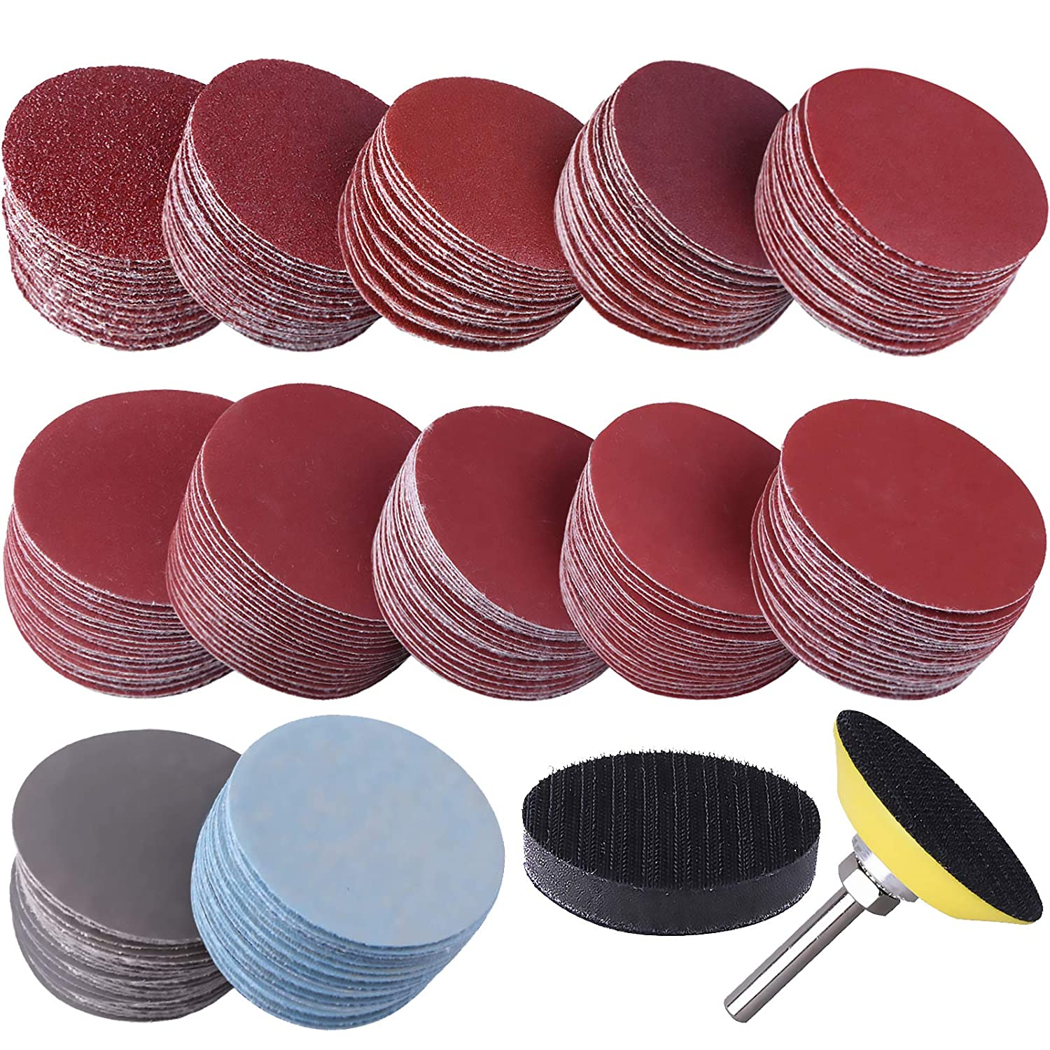 SIQUK 300 Pcs 2 Inch Sanding Limited time trial price Discs 4 Jacksonville Mall Back 1 Shank with pc