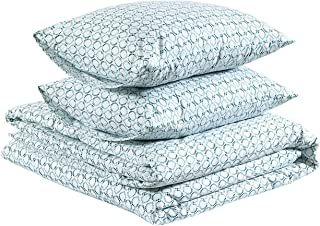 AmazonBasics Lightweight Percale Cotton Duvet Comforter Cover Set, King, Petal Medallion