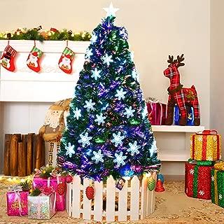 Goplus 6FT Artificial Christmas Tree Pre-Lit Fiber Optic Premium Spruce Hinged Tree W/UL Certified Multicolored LED Lights & Metal Stand