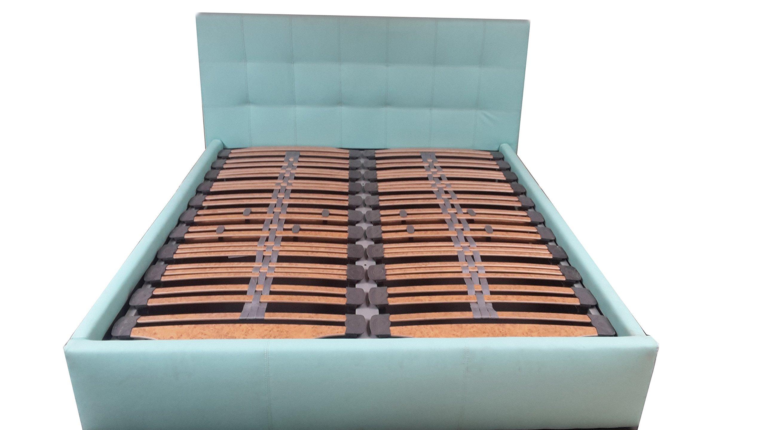 Ecobedding Cama somier de Piel Tiffany Azul Artificial 160 x ...