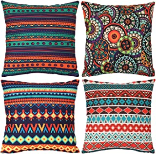 WIONEE Pack of 4 Outdoor Decorative Throw Pillow Covers Bohemian Couch Covers Pillow Case for Couch Sofa Bed 18x18 Inch