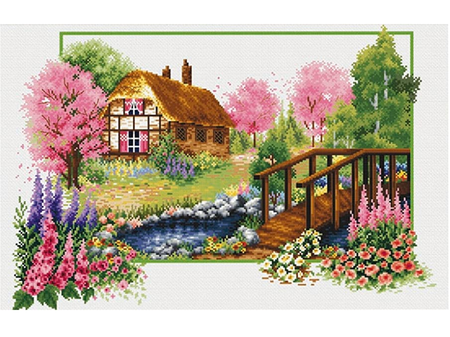 TINMI ATRS DIY Stamped Cross Stitch Landscape Kits Thread Needlework Embroidery Printed Pattern 11CT Home Decoration Four Seasons (Spring Waltz, 27x19 inch)
