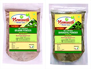 Neminath Herbal Care Brahmi Leaves Powder and Bhringraj Leaves Powder For Hair | 100% Ayurvedic, Natural and Herbal Combo For Complete Hair Care, Multi, 200 g (Pack of 2)