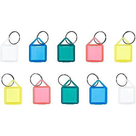 Schlüsselanhänger/Klapp-Anhänger aus Kunststoff mit Ring, aufklappbar und beidseitig lesbar (Klein - Nr. 14) (20 Stück)