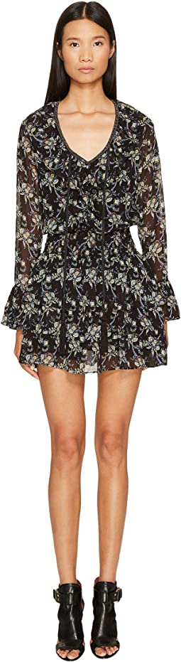 The Kooples Low-Cut Short Dress with Long Sleeves and Frilly Hem