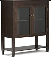 Simpli Home 3AXCCRL-05 Carlton Solid Wood 40 inch Wide Contemporary Medium Storage Cabinet in Dark Tobacco Brown