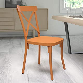 Flash Furniture Metal Colorful Crossback Chairs, Steel, Natural