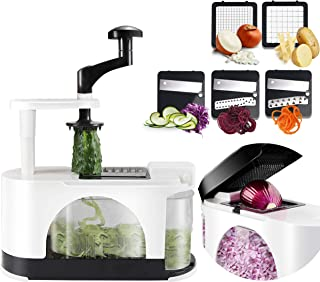 EASACE Vegetable Spiralizer Mandoline Slicer Onion Chopper with Container Pro Multi Vegetable Fruit Spiralizer Kitchen Pee...