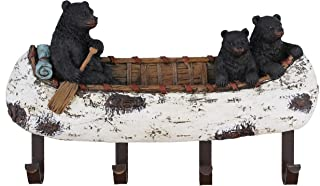Old River Outdoors Black Bear and Cubs Paddling a Canoe Decor - 4 Peg Decorative Wall Mount Hook