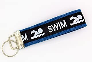 Swim Ribbon Wristlet Key Fob Keychain Royal Blue