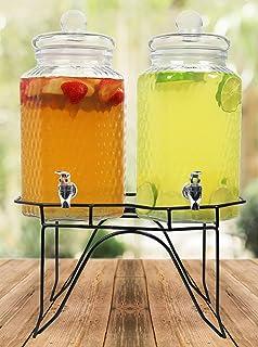 Estilo Hammered Glass Double Beverage Drink Dispenser On Stand With Leak Free Spigot, 1..