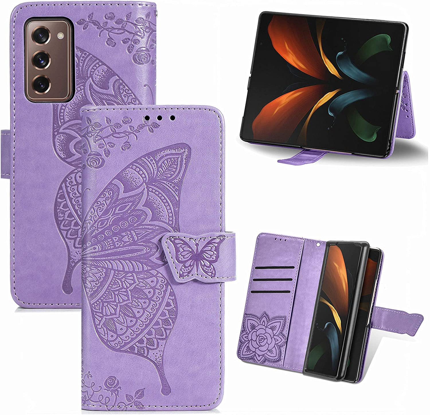 for Samsung Galaxy Z Fold 2 5G Wallet Case,PU Leather Protective Case Emboss Butterfly Flowers Folio Magnetic with 3 Card Slots Holder Kickstand Flip Case for Samsung Galaxy Z Fold 2 5G Light Purple