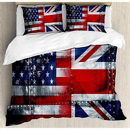 Blue Duvet Covers Union Jack Flag Tartan Check Printed Quilt Cover Bedding Sets
