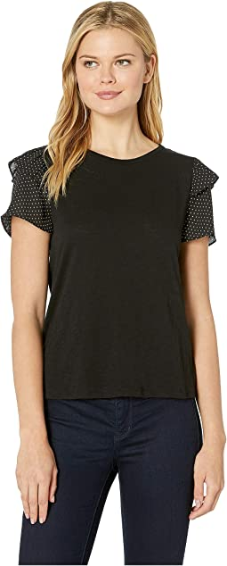 Ruffled Short Sleeve Mix Media Knit Top