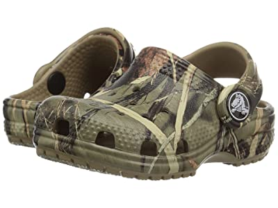 Crocs Kids Classic Realtree Clog (Toddler/Little Kid) (Khaki) Kids Shoes