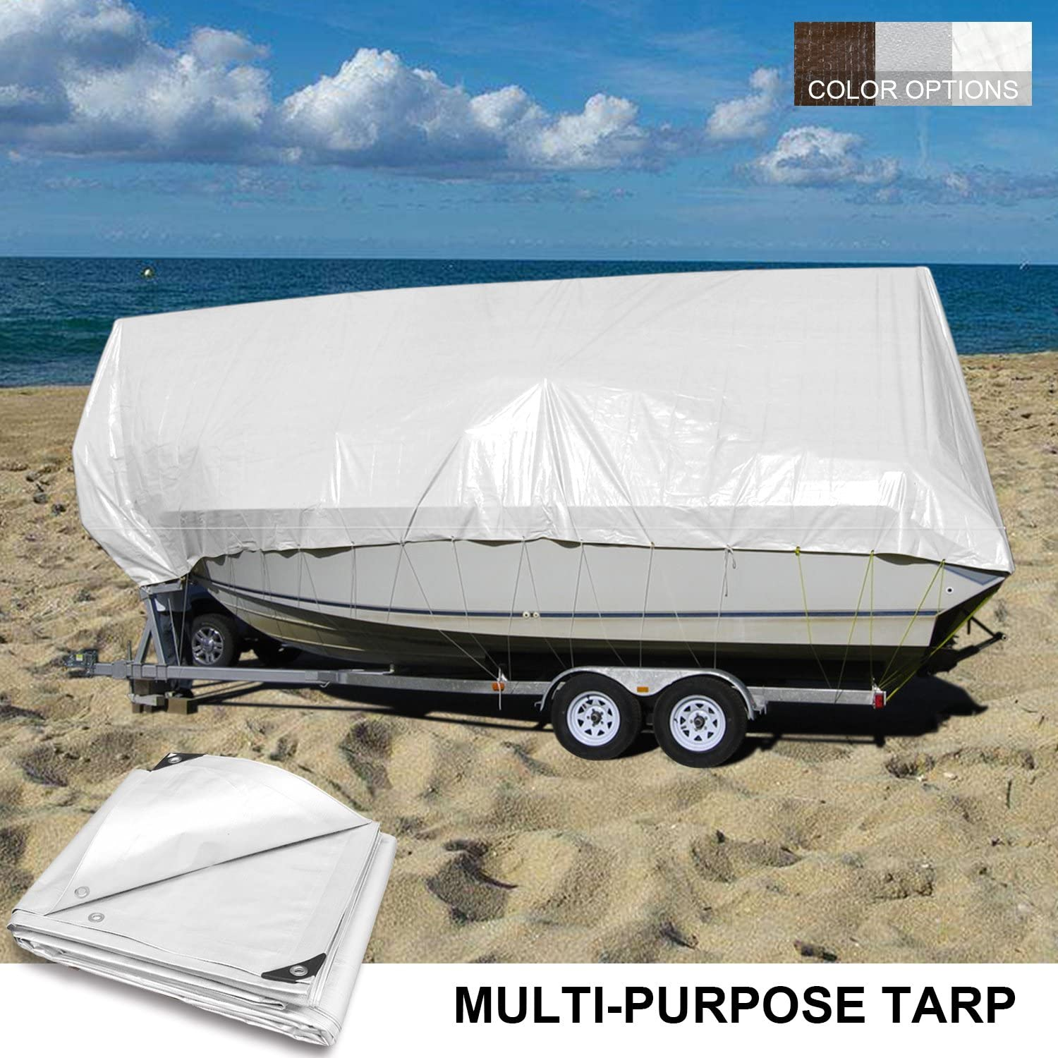 Coarbor 6 x 8 Waterproof Tarp Matertial 5 Mil Protect Outdoor Boat RV Pool Cover Blue