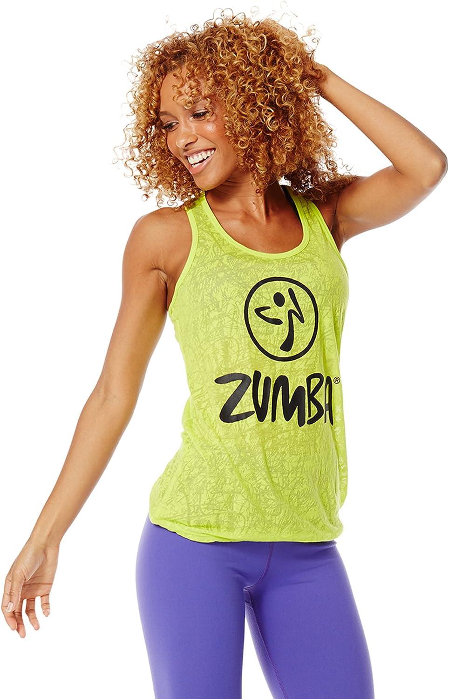 Zumba Women's Bubble Regular discount Hem Breathable Top Workout Print Fort Worth Mall Tank Ligh