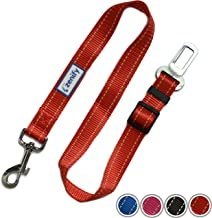 Zenify Dog Car Seat Belt Seatbelt Lead Puppy Harness - Heavy Duty Adjustable Carseat Clip Buckle Leash for Dogs Puppies Pets Travel - Pet Safe Collar Accessories Supplies Truck Safety Covers (Red)