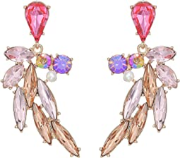Flamingo Multi Stone Feather Earrings