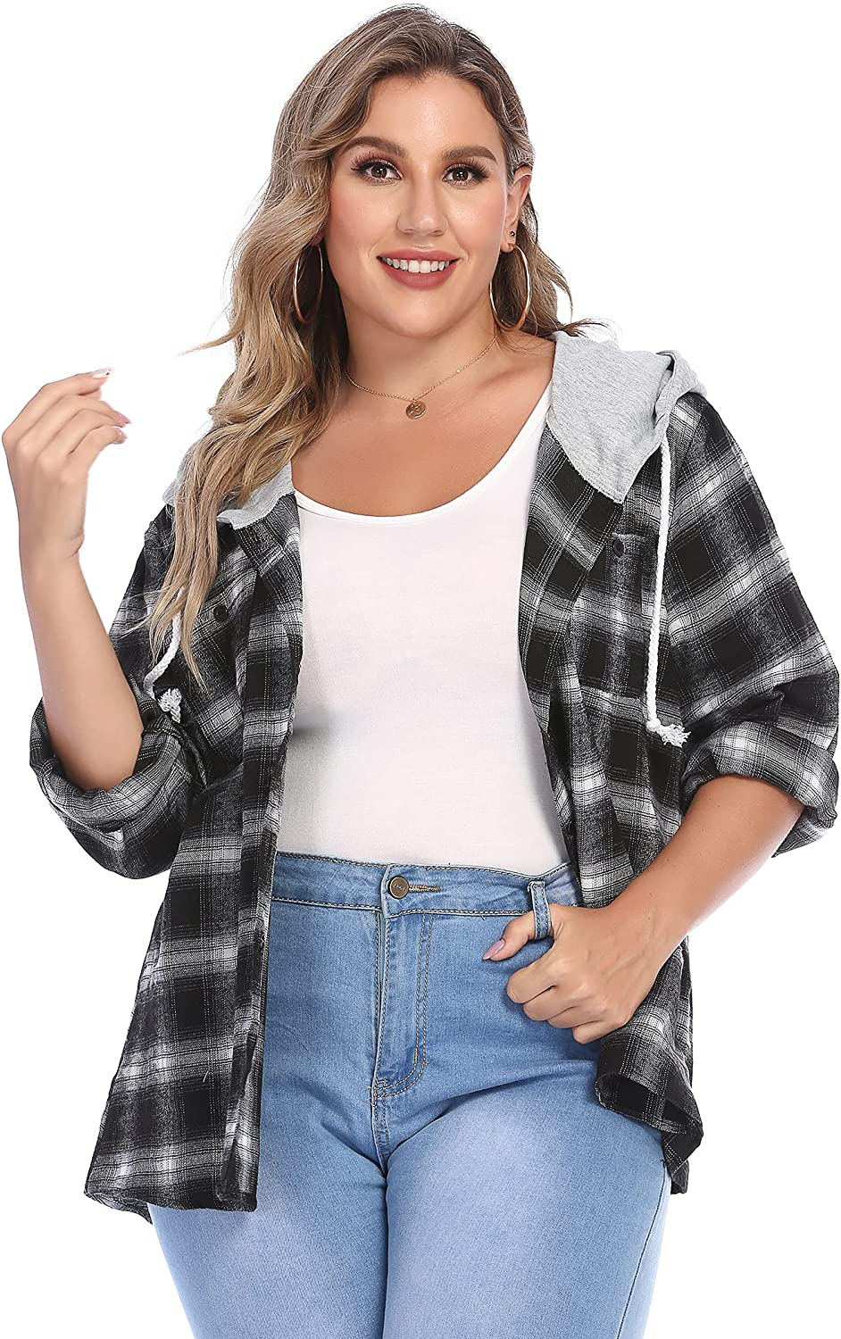 IN'VOLAND Womens Plus Size Flannel Plaid Hoodie Long Sleeve Plaid Shirt Jacket with Hood Button Down Casual Shirts 16W-28W