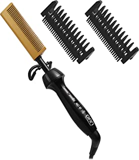 DAN Technology Ceramic Hot Comb, Anti-Scald Beard Straightener Press Comb 450? High Heat, Dual Voltage Electric Comb Hair Straightener for Women and Men