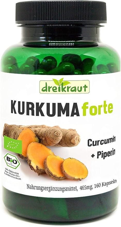 """439 opinioni per Curcuma Forte Bio """"dreikraut""""- Curcuma + Curcumina 95% + Piperina, 160 capsule"""