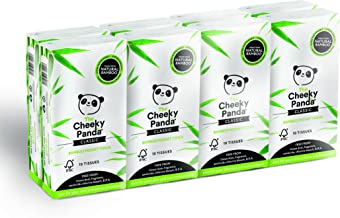 The Cheeky Panda 100 Percent Bamboo Pocket Tissue, Pack of 8